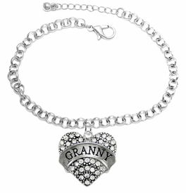 "<BR>    WHOLESALE GRANDMOTHER THEMED JEWELRY    <br>                          HYPOALLERGENIC    <BR>           NICKEL, LEAD & CADMIUM FREE!!    <BR>       W1686B2 - SILVER TONE AND CRYSTAL   <BR>       BEAUTIFUL ""GRANNY"" HEART CHARM ON    <BR>       CHAIN LINK LOBSTER CLASP BRACELET   <br>              FROM $5.98 TO $12.85 �2015"