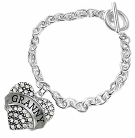"<BR>    WHOLESALE GRANDMOTHER THEMED JEWELRY    <br>                          HYPOALLERGENIC    <BR>           NICKEL, LEAD & CADMIUM FREE!!    <BR>       W1686B5 - SILVER TONE AND CRYSTAL   <BR>       BEAUTIFUL ""GRANNY"" HEART CHARM ON    <BR>        CHAIN LINK TOGGLE CLASP BRACELET   <br>              FROM $5.98 TO $12.85 �2015"