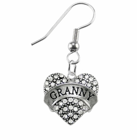 "<BR>    WHOLESALE GRANDMOTHER THEMED JEWELRY    <br>                          HYPOALLERGENIC    <BR>           NICKEL, LEAD & CADMIUM FREE!!    <BR>       W1686E1 - SILVER TONE AND CRYSTAL   <BR>      BEAUTIFUL ""GRANNY"" HEART CHARMS ON    <BR>      STAINLESS STEEL FISH HOOK EARRINGS  <br>              FROM $5.98 TO $12.85 �2015"