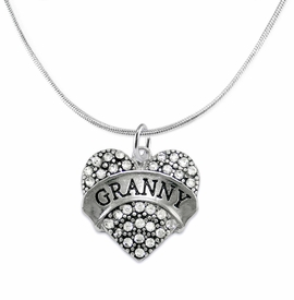 "<BR>    WHOLESALE GRANDMOTHER THEMED JEWELRY    <br>                          HYPOALLERGENIC    <BR>           NICKEL, LEAD & CADMIUM FREE!!    <BR>       W1686N2 - SILVER TONE AND CRYSTAL   <BR>       BEAUTIFUL ""GRANNY"" HEART CHARM ON    <BR>      SNAKE CHAIN LOBSTER CLASP NECKLACE  <br>              FROM $5.98 TO $12.85 �2015"