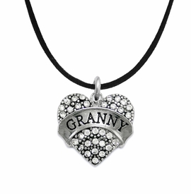 "<BR>    WHOLESALE GRANDMOTHER THEMED JEWELRY    <br>                          HYPOALLERGENIC    <BR>           NICKEL, LEAD & CADMIUM FREE!!    <BR>       W1686N3 - SILVER TONE AND CRYSTAL   <BR>       BEAUTIFUL ""GRANNY"" HEART CHARM ON    <BR>      BLACK SUEDE LOBSTER CLASP NECKLACE  <br>              FROM $5.98 TO $12.85 �2015"