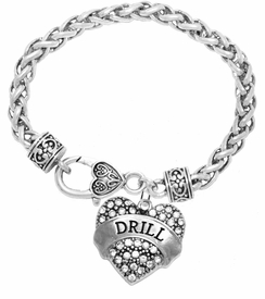 "<BR>            DRILL TEAM / DANCE JEWELRY    <br>                          HYPOALLERGENIC    <BR>           NICKEL, LEAD & CADMIUM FREE!!    <BR>       W1691B1 - SILVER TONE AND CRYSTAL   <BR>DANCE TEAM THEMED ""DRILL"" HEART CHARM ON    <BR>     HEART SHAPED LOBSTER CLASP BRACELET   <br>                        $10.38 EACH �2015"