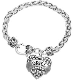 """<BR>            DRILL TEAM / DANCE JEWELRY    <br>                          HYPOALLERGENIC    <BR>           NICKEL, LEAD & CADMIUM FREE!!    <BR>       W1691B1 - SILVER TONE AND CRYSTAL   <BR>DANCE TEAM THEMED """"DRILL"""" HEART CHARM ON    <BR>     HEART SHAPED LOBSTER CLASP BRACELET   <br>                        $10.38 EACH �2015"""