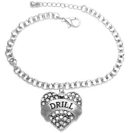 """<BR>   WHOLESALE DRILL TEAM / DANCE JEWELRY    <br>                          HYPOALLERGENIC    <BR>           NICKEL, LEAD & CADMIUM FREE!!    <BR>       W1691B2 - SILVER TONE AND CRYSTAL   <BR>DRILL TEAM THEMED """"DRILL"""" HEART CHARM ON    <BR>       CHAIN LINK LOBSTER CLASP BRACELET   <br>                         $9.38 EACH �2015"""
