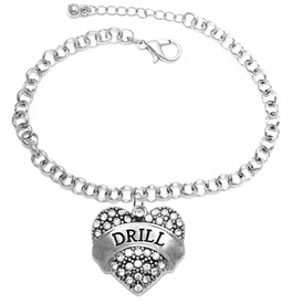"<BR>   WHOLESALE DRILL TEAM / DANCE JEWELRY    <br>                          HYPOALLERGENIC    <BR>           NICKEL, LEAD & CADMIUM FREE!!    <BR>       W1691B2 - SILVER TONE AND CRYSTAL   <BR>DRILL TEAM THEMED ""DRILL"" HEART CHARM ON    <BR>       CHAIN LINK LOBSTER CLASP BRACELET   <br>                         $9.38 EACH �2015"