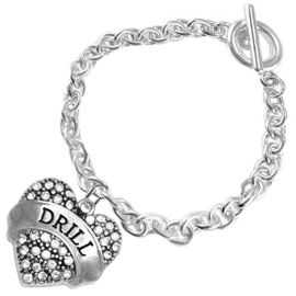 """<BR>   WHOLESALE DRILL TEAM / DANCE JEWELRY    <br>                          HYPOALLERGENIC    <BR>           NICKEL, LEAD & CADMIUM FREE!!    <BR>       W1691B2 - SILVER TONE AND CRYSTAL   <BR>DRILL TEAM THEMED """"DRILL"""" HEART CHARM ON    <BR>        CHAIN LINK TOGGLE CLASP BRACELET   <br>                         $9.38 EACH �2015"""