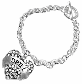 "<BR>   WHOLESALE DRILL TEAM / DANCE JEWELRY    <br>                          HYPOALLERGENIC    <BR>           NICKEL, LEAD & CADMIUM FREE!!    <BR>       W1691B2 - SILVER TONE AND CRYSTAL   <BR>DRILL TEAM THEMED ""DRILL"" HEART CHARM ON    <BR>        CHAIN LINK TOGGLE CLASP BRACELET   <br>                         $9.38 EACH �2015"