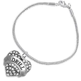 """<BR>   WHOLESALE DRILL TEAM / DANCE JEWELRY    <br>                          HYPOALLERGENIC    <BR>           NICKEL, LEAD & CADMIUM FREE!!    <BR>       W1691B7 - SILVER TONE AND CRYSTAL   <BR>DRILL TEAM THEMED """"DRILL"""" HEART CHARM ON    <BR>      SNAKE CHAIN LOBSTER CLASP BRACELET   <br>                         $10.38 EACH  �2015"""