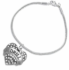 "<BR>   WHOLESALE DRILL TEAM / DANCE JEWELRY    <br>                          HYPOALLERGENIC    <BR>           NICKEL, LEAD & CADMIUM FREE!!    <BR>       W1691B7 - SILVER TONE AND CRYSTAL   <BR>DRILL TEAM THEMED ""DRILL"" HEART CHARM ON    <BR>      SNAKE CHAIN LOBSTER CLASP BRACELET   <br>                         $10.38 EACH  �2015"
