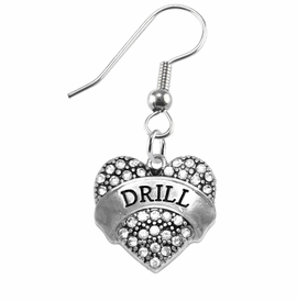 "<BR>            DRILL TEAM / DANCE JEWELRY    <br>                          HYPOALLERGENIC    <BR>           NICKEL, LEAD & CADMIUM FREE!!    <BR>       W1691E1 - SILVER TONE AND CRYSTAL   <BR>DRILL TEAM THEMED ""DRILL"" HEART CHARMS ON    <BR>      STAINLESS STEEL FISH HOOK EARRINGS  <br>                         $10.38 EACH  �2015"