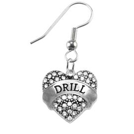 """<BR>            DRILL TEAM / DANCE JEWELRY    <br>                          HYPOALLERGENIC    <BR>           NICKEL, LEAD & CADMIUM FREE!!    <BR>       W1691E1 - SILVER TONE AND CRYSTAL   <BR>DRILL TEAM THEMED """"DRILL"""" HEART CHARMS ON    <BR>      STAINLESS STEEL FISH HOOK EARRINGS  <br>                         $10.38 EACH  �2015"""