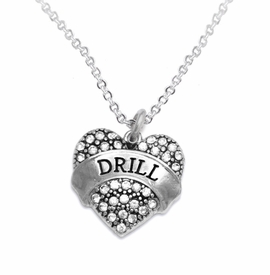"<BR>   WHOLESALE DRILL TEAM / DANCE JEWELRY    <br>                          HYPOALLERGENIC    <BR>           NICKEL, LEAD & CADMIUM FREE!!    <BR>       W1691N1 - SILVER TONE AND CRYSTAL   <BR>DRILL TEAM THEMED ""DRILL"" HEART CHARM ON    <BR>       CHAIN LINK LOBSTER CLASP NECKLACE   <br>                         $9.38 EACH �2015"