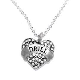 """<BR>   WHOLESALE DRILL TEAM / DANCE JEWELRY    <br>                          HYPOALLERGENIC    <BR>           NICKEL, LEAD & CADMIUM FREE!!    <BR>       W1691N1 - SILVER TONE AND CRYSTAL   <BR>DRILL TEAM THEMED """"DRILL"""" HEART CHARM ON    <BR>       CHAIN LINK LOBSTER CLASP NECKLACE   <br>                         $9.38 EACH �2015"""