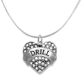 """<BR>   WHOLESALE DRILL TEAM / DANCE JEWELRY    <br>                          HYPOALLERGENIC    <BR>           NICKEL, LEAD & CADMIUM FREE!!    <BR>       W1691N2 - SILVER TONE AND CRYSTAL   <BR>DRILL TEAM THEMED """"DRILL"""" HEART CHARM ON    <BR>      SNAKE CHAIN LOBSTER CLASP NECKLACE   <br>                        $9.38 EACH  �2015"""