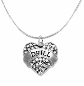 "<BR>   WHOLESALE DRILL TEAM / DANCE JEWELRY    <br>                          HYPOALLERGENIC    <BR>           NICKEL, LEAD & CADMIUM FREE!!    <BR>       W1691N2 - SILVER TONE AND CRYSTAL   <BR>DRILL TEAM THEMED ""DRILL"" HEART CHARM ON    <BR>      SNAKE CHAIN LOBSTER CLASP NECKLACE   <br>                        $9.38 EACH  �2015"