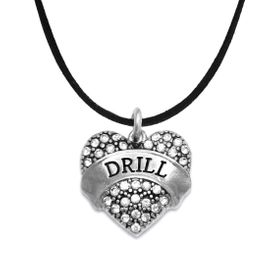 """<BR>   WHOLESALE DRILL TEAM / DANCE JEWELRY    <br>                          HYPOALLERGENIC    <BR>           NICKEL, LEAD & CADMIUM FREE!!    <BR>       W1691N3 - SILVER TONE AND CRYSTAL   <BR>DRILL TEAM THEMED """"DRILL"""" HEART CHARM ON    <BR>      BLACK SUEDE LOBSTER CLASP NECKLACE   <br>                         $9.38 EACH  �2015"""