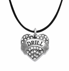 "<BR>   WHOLESALE DRILL TEAM / DANCE JEWELRY    <br>                          HYPOALLERGENIC    <BR>           NICKEL, LEAD & CADMIUM FREE!!    <BR>       W1691N3 - SILVER TONE AND CRYSTAL   <BR>DRILL TEAM THEMED ""DRILL"" HEART CHARM ON    <BR>      BLACK SUEDE LOBSTER CLASP NECKLACE   <br>                         $9.38 EACH  �2015"