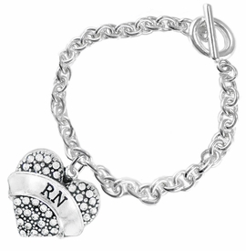 "<BR>      WHOLESALE MEDICAL NURSE JEWELRY    <br>                       HYPOALLERGENIC    <BR>        NICKEL, LEAD & CADMIUM FREE!!    <BR>    W1694B2 - SILVER TONE AND CRYSTAL   <BR> REGISTERED NURSE ""RN"" HEART CHARM ON    <BR>     CHAIN LINK TOGGLE CLASP BRACELET   <br>           FROM $5.98 TO $12.85 �2015"