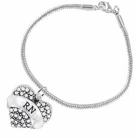 "<BR>      WHOLESALE MEDICAL NURSE JEWELRY    <br>                       HYPOALLERGENIC    <BR>        NICKEL, LEAD & CADMIUM FREE!!    <BR>    W1694B7 - SILVER TONE AND CRYSTAL   <BR> REGISTERED NURSE ""RN"" HEART CHARM ON    <BR>   SNAKE CHAIN LOBSTER CLASP BRACELET   <br>           FROM $5.98 TO $12.85 �2015"