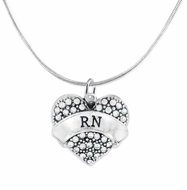 "<BR>      WHOLESALE MEDICAL NURSE JEWELRY    <br>                       HYPOALLERGENIC    <BR>        NICKEL, LEAD & CADMIUM FREE!!    <BR>    W1694N2 - SILVER TONE AND CRYSTAL   <BR> REGISTERED NURSE ""RN"" HEART CHARM ON    <BR>    CHAIN LINK LOBSTER CLASP NECKLACE <br>           FROM $5.98 TO $12.85 �2015"