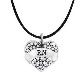 "<BR>      WHOLESALE MEDICAL NURSE JEWELRY    <br>                       HYPOALLERGENIC    <BR>        NICKEL, LEAD & CADMIUM FREE!!    <BR>    W1694N3 - SILVER TONE AND CRYSTAL   <BR> REGISTERED NURSE ""RN"" HEART CHARM ON    <BR>     BLACK SUEDE LEATHERETTE NECKLACE <br>           FROM $5.98 TO $12.85 �2015"