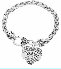 """<BR>           DRAMA TEAM / THEATRE JEWELRY    <br>                          HYPOALLERGENIC    <BR>           NICKEL, LEAD & CADMIUM FREE!!    <BR>       W1701B1 - SILVER TONE AND CRYSTAL   <BR>       THE ACTORS """"DRAMA"""" HEART CHARM ON    <BR>     HEART SHAPED LOBSTER CLASP BRACELET   <br>                                   $10.68 �2015"""