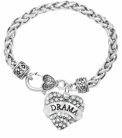 "<BR>           DRAMA TEAM / THEATRE JEWELRY    <br>                          HYPOALLERGENIC    <BR>           NICKEL, LEAD & CADMIUM FREE!!    <BR>       W1701B1 - SILVER TONE AND CRYSTAL   <BR>       THE ACTORS ""DRAMA"" HEART CHARM ON    <BR>     HEART SHAPED LOBSTER CLASP BRACELET   <br>                                   $10.68 �2015"