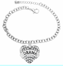 """<BR>  WHOLESALE DRAMA TEAM / THEATRE JEWELRY    <br>                          HYPOALLERGENIC    <BR>           NICKEL, LEAD & CADMIUM FREE!!    <BR>       W1701B2 - SILVER TONE AND CRYSTAL   <BR>       THE ACTORS """"DRAMA"""" HEART CHARM ON    <BR>      CHAIN LINK  LOBSTER CLASP BRACELET   <br>              FROM $5.98 TO $12.85 �2015"""