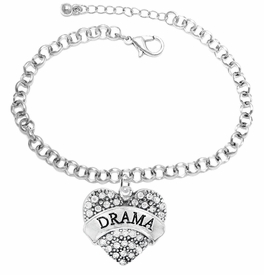 "<BR>  WHOLESALE DRAMA TEAM / THEATRE JEWELRY    <br>                          HYPOALLERGENIC    <BR>           NICKEL, LEAD & CADMIUM FREE!!    <BR>       W1701B2 - SILVER TONE AND CRYSTAL   <BR>       THE ACTORS ""DRAMA"" HEART CHARM ON    <BR>      CHAIN LINK  LOBSTER CLASP BRACELET   <br>              FROM $5.98 TO $12.85 �2015"