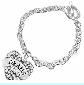 """<BR>  WHOLESALE DRAMA TEAM / THEATRE JEWELRY    <br>                          HYPOALLERGENIC    <BR>           NICKEL, LEAD & CADMIUM FREE!!    <BR>       W1701B5 - SILVER TONE AND CRYSTAL   <BR>       THE ACTORS """"DRAMA"""" HEART CHARM ON    <BR>        CHAIN LINK TOGGLE CLASP BRACELET   <br>              FROM $5.98 TO $12.85 �2015"""