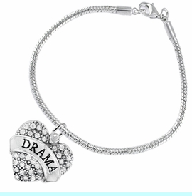 """<BR>  WHOLESALE DRAMA TEAM / THEATRE JEWELRY    <br>                          HYPOALLERGENIC    <BR>           NICKEL, LEAD & CADMIUM FREE!!    <BR>       W1701B7 - SILVER TONE AND CRYSTAL   <BR>       THE ACTORS """"DRAMA"""" HEART CHARM ON    <BR>      SNAKE CHAIN LOBSTER CLASP BRACELET   <br>              FROM $5.98 TO $12.85 �2015"""