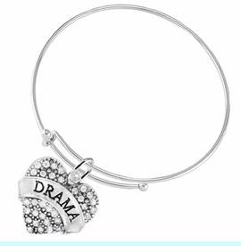 """<BR>  WHOLESALE DRAMA TEAM / THEATRE JEWELRY    <br>                          HYPOALLERGENIC    <BR>           NICKEL, LEAD & CADMIUM FREE!!    <BR>       W1701B9 - SILVER TONE AND CRYSTAL   <BR>       THE ACTORS """"DRAMA"""" HEART CHARM ON    <BR>     ADJUSTABLE SOLID THIN WIRE BRACELET   <br>              FROM $5.98 TO $12.85 �2015"""