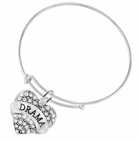 "<BR>  WHOLESALE DRAMA TEAM / THEATRE JEWELRY    <br>                          HYPOALLERGENIC    <BR>           NICKEL, LEAD & CADMIUM FREE!!    <BR>       W1701B9 - SILVER TONE AND CRYSTAL   <BR>       THE ACTORS ""DRAMA"" HEART CHARM ON    <BR>     ADJUSTABLE SOLID THIN WIRE BRACELET   <br>              FROM $5.98 TO $12.85 �2015"