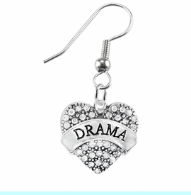 """<BR>              DRAMA TEAM / THEATRE JEWELRY    <br>                          HYPOALLERGENIC    <BR>           NICKEL, LEAD & CADMIUM FREE!!    <BR>       W1701E1 - SILVER TONE AND CRYSTAL   <BR>       THE ACTORS """"DRAMA"""" HEART CHARM ON    <BR>      STAINLESS STEEL FISH HOOK EARRINGS   <br>                            $10.68 �2015"""