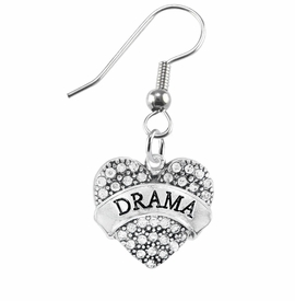"<BR>              DRAMA TEAM / THEATRE JEWELRY    <br>                          HYPOALLERGENIC    <BR>           NICKEL, LEAD & CADMIUM FREE!!    <BR>       W1701E1 - SILVER TONE AND CRYSTAL   <BR>       THE ACTORS ""DRAMA"" HEART CHARM ON    <BR>      STAINLESS STEEL FISH HOOK EARRINGS   <br>                            $10.68 �2015"