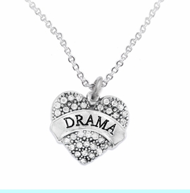 """<BR>         DRAMA TEAM / THEATRE JEWELRY    <br>                          HYPOALLERGENIC    <BR>           NICKEL, LEAD & CADMIUM FREE!!    <BR>       W1701N1 - SILVER TONE AND CRYSTAL   <BR>       THE ACTORS """"DRAMA"""" HEART CHARM ON    <BR>       CHAIN LINK LOBSTER CLASP NECKLACE  <br>                          $10.68 EACH �2015"""