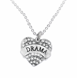 "<BR>         DRAMA TEAM / THEATRE JEWELRY    <br>                          HYPOALLERGENIC    <BR>           NICKEL, LEAD & CADMIUM FREE!!    <BR>       W1701N1 - SILVER TONE AND CRYSTAL   <BR>       THE ACTORS ""DRAMA"" HEART CHARM ON    <BR>       CHAIN LINK LOBSTER CLASP NECKLACE  <br>                          $10.68 EACH �2015"