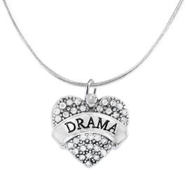 """<BR>  WHOLESALE DRAMA TEAM / THEATRE JEWELRY    <br>                          HYPOALLERGENIC    <BR>           NICKEL, LEAD & CADMIUM FREE!!    <BR>       W1701N2 - SILVER TONE AND CRYSTAL   <BR>       THE ACTORS """"DRAMA"""" HEART CHARM ON    <BR>      SNAKE CHAIN LOBSTER CLASP NECKLACE  <br>                            $11.68 EACH �2015"""