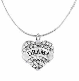"<BR>  WHOLESALE DRAMA TEAM / THEATRE JEWELRY    <br>                          HYPOALLERGENIC    <BR>           NICKEL, LEAD & CADMIUM FREE!!    <BR>       W1701N2 - SILVER TONE AND CRYSTAL   <BR>       THE ACTORS ""DRAMA"" HEART CHARM ON    <BR>      SNAKE CHAIN LOBSTER CLASP NECKLACE  <br>                            $11.68 EACH �2015"