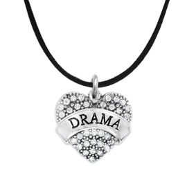 """<BR>  WHOLESALE DRAMA TEAM / THEATRE JEWELRY    <br>                          HYPOALLERGENIC    <BR>           NICKEL, LEAD & CADMIUM FREE!!    <BR>       W1701N3 - SILVER TONE AND CRYSTAL   <BR>       THE ACTORS """"DRAMA"""" HEART CHARM ON    <BR>        BLACK SUEDE LEATHERETTE NECKLACE  <br>              FROM $5.98 TO $12.85 �2015"""