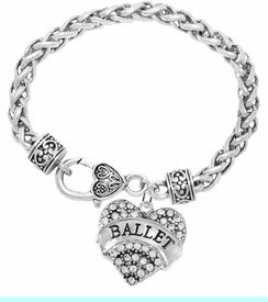 """<BR>                     BALLET DANCER JEWELRY  <br>                          HYPOALLERGENIC    <BR>           NICKEL, LEAD & CADMIUM FREE!!    <BR>       W1706B1 - SILVER TONE AND CRYSTAL   <BR>          """"BALLET"""" DANCER HEART CHARM ON    <BR>     HEART SHAPED LOBSTER CLASP BRACELET   <br>                           $10.68 �2015"""