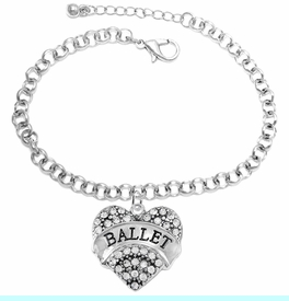 """<BR>    WHOLESALE BALLET DANCER JEWELRY  <br>                     HYPOALLERGENIC    <BR>      NICKEL, LEAD & CADMIUM FREE!!    <BR> W1706B2 - SILVER TONE AND CRYSTAL   <BR>    """"BALLET"""" DANCER HEART CHARM ON    <BR> CHAIN LINK LOBSTER CLASP BRACELET   <br>        FROM $5.98 TO $12.85 �2015"""