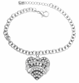 "<BR>    WHOLESALE BALLET DANCER JEWELRY  <br>                     HYPOALLERGENIC    <BR>      NICKEL, LEAD & CADMIUM FREE!!    <BR> W1706B2 - SILVER TONE AND CRYSTAL   <BR>    ""BALLET"" DANCER HEART CHARM ON    <BR> CHAIN LINK LOBSTER CLASP BRACELET   <br>        FROM $5.98 TO $12.85 �2015"