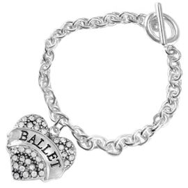 """<BR>    WHOLESALE BALLET DANCER JEWELRY  <br>                     HYPOALLERGENIC    <BR>      NICKEL, LEAD & CADMIUM FREE!!    <BR> W1706B5 - SILVER TONE AND CRYSTAL   <BR>    """"BALLET"""" DANCER HEART CHARM ON    <BR>  CHAIN LINK TOGGLE CLASP BRACELET   <br>        FROM $5.98 TO $12.85 �2015"""