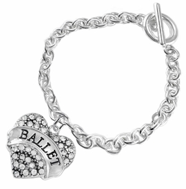 "<BR>    WHOLESALE BALLET DANCER JEWELRY  <br>                     HYPOALLERGENIC    <BR>      NICKEL, LEAD & CADMIUM FREE!!    <BR> W1706B5 - SILVER TONE AND CRYSTAL   <BR>    ""BALLET"" DANCER HEART CHARM ON    <BR>  CHAIN LINK TOGGLE CLASP BRACELET   <br>        FROM $5.98 TO $12.85 �2015"