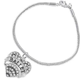 """<BR>    WHOLESALE BALLET DANCER JEWELRY  <br>                     HYPOALLERGENIC    <BR>      NICKEL, LEAD & CADMIUM FREE!!    <BR> W1706B7 - SILVER TONE AND CRYSTAL   <BR>    """"BALLET"""" DANCER HEART CHARM ON    <BR> SNAKE CHAIN TOGGLE CLASP BRACELET   <br>        FROM $5.98 TO $12.85 �2015"""