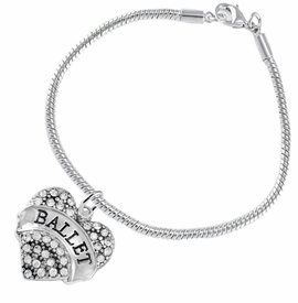 "<BR>    WHOLESALE BALLET DANCER JEWELRY  <br>                     HYPOALLERGENIC    <BR>      NICKEL, LEAD & CADMIUM FREE!!    <BR> W1706B7 - SILVER TONE AND CRYSTAL   <BR>    ""BALLET"" DANCER HEART CHARM ON    <BR> SNAKE CHAIN TOGGLE CLASP BRACELET   <br>        FROM $5.98 TO $12.85 �2015"