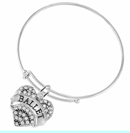 """<BR>    WHOLESALE BALLET DANCER JEWELRY  <br>                     HYPOALLERGENIC    <BR>      NICKEL, LEAD & CADMIUM FREE!!    <BR> W1706B9 - SILVER TONE AND CRYSTAL   <BR>    """"BALLET"""" DANCER HEART CHARM ON    <BR>ADJUSTABLE SOLID THIN WIRE BRACELET   <br>        FROM $5.98 TO $12.85 �2015"""