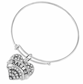 "<BR>    WHOLESALE BALLET DANCER JEWELRY  <br>                     HYPOALLERGENIC    <BR>      NICKEL, LEAD & CADMIUM FREE!!    <BR> W1706B9 - SILVER TONE AND CRYSTAL   <BR>    ""BALLET"" DANCER HEART CHARM ON    <BR>ADJUSTABLE SOLID THIN WIRE BRACELET   <br>        FROM $5.98 TO $12.85 �2015"