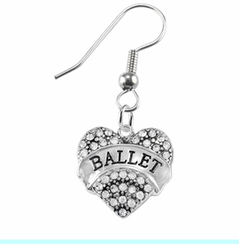 """<BR>    WHOLESALE BALLET DANCER JEWELRY  <br>                     HYPOALLERGENIC    <BR>      NICKEL, LEAD & CADMIUM FREE!!    <BR> W1706E1 - SILVER TONE AND CRYSTAL   <BR>    """"BALLET"""" DANCER HEART CHARM ON    <BR>STAINLESS STEEL FISH HOOK EARRINGS   <br>        FROM $5.98 TO $12.85 �2015"""
